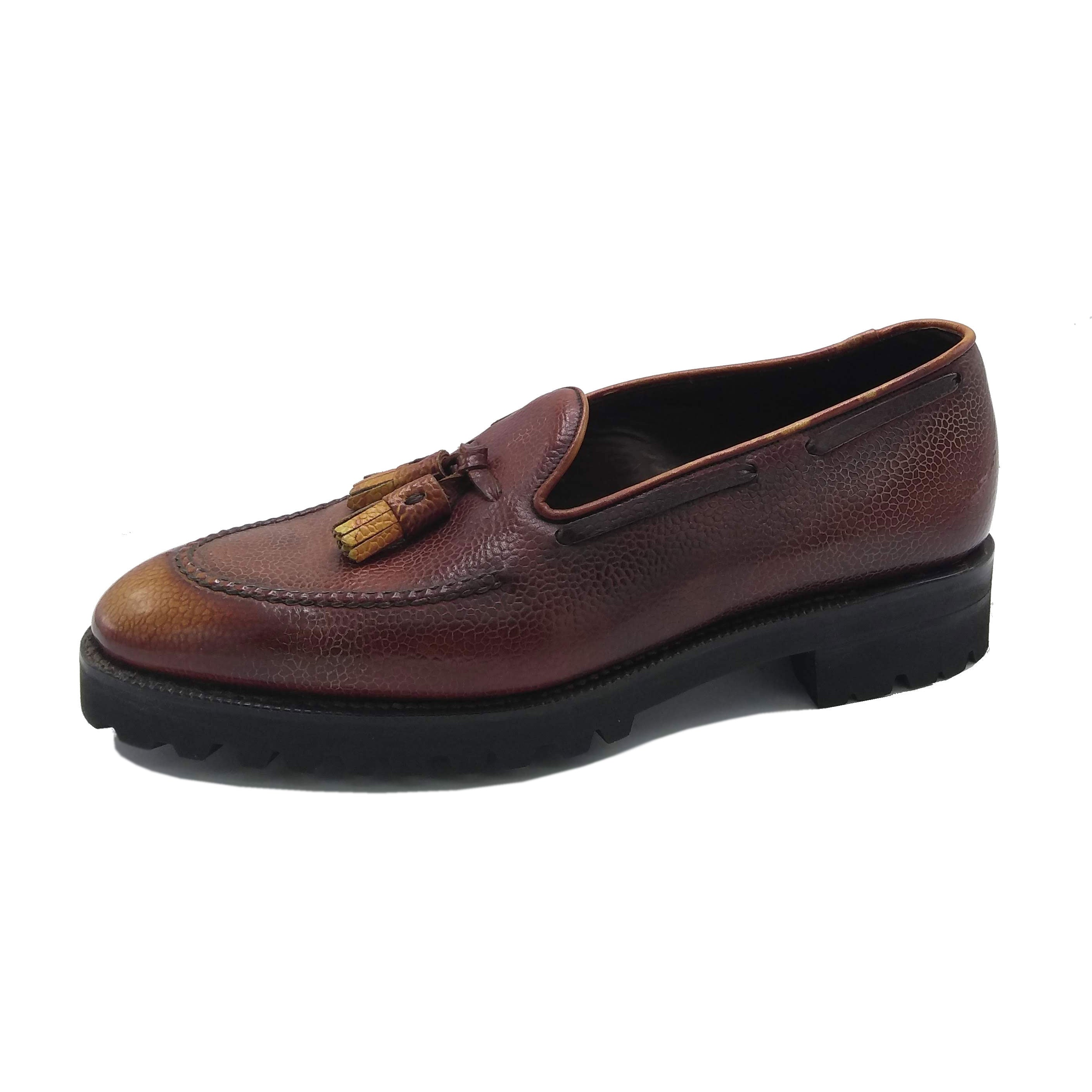 Tassel Loafer with Apron  - Brown & Cognac 3D Patina
