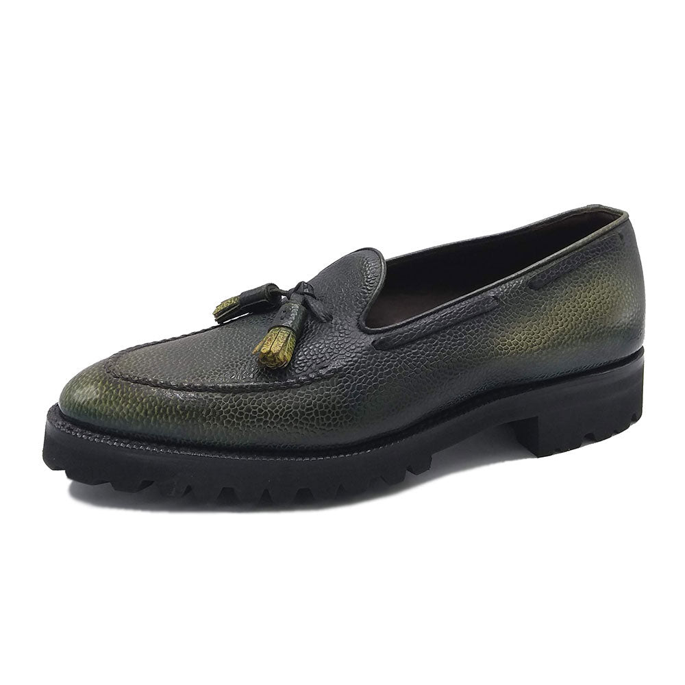 Tassel Loafer with Apron (Made-to-Order) - Mist Grey Pebble Grain Leather