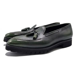 Tassel Loafer Simple with Apron (Made-to-Order) - Green 3D Patina