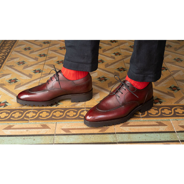Hand-stitched U-tip Derby (Made-to-Order) - Bordeaux Grain Calf Leather