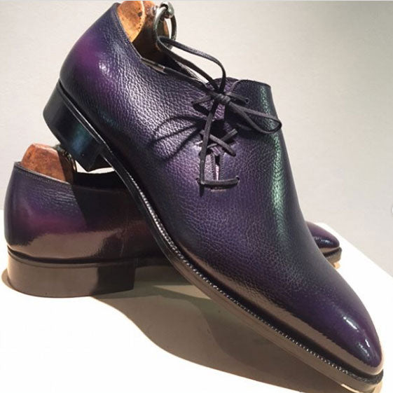 Wholecut Oxford Shoe (Made-to-Order for Dmitry) -  Black and Purple Patina