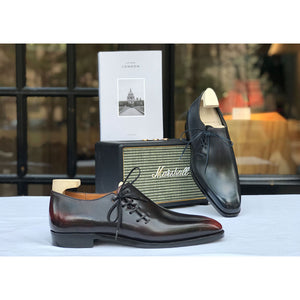 Wholecut Oxford Shoe -  Black and Bordeaux Patina
