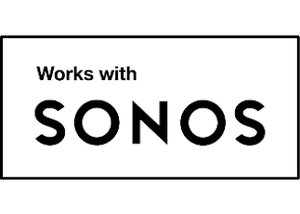 Works with Sonos badge certifies products that seamlessly connect with the Sonos Home Sound System.