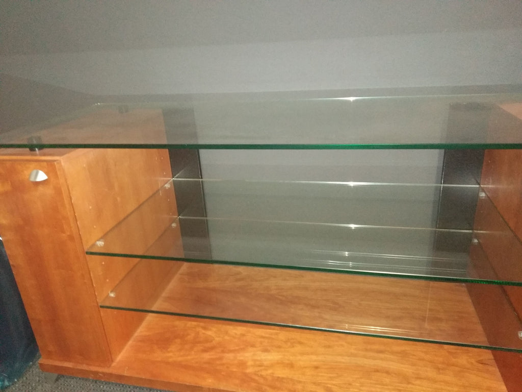 Used Walnut TV Cabinet with Glass Shelves - Ultra Sound & Vision