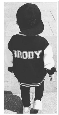 KIDS UNISEX PERSONALISED BLACK/WHITE VARSITY JACKET