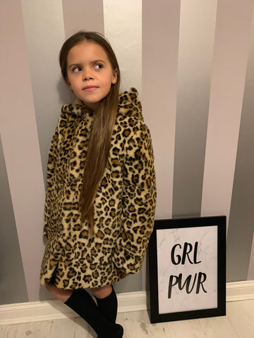 'THE ROXY' FAUX FUR HOODED GIRLS LEOPARD JACKET