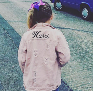 PINK RIPPED PERSONALISED DENIM JACKET