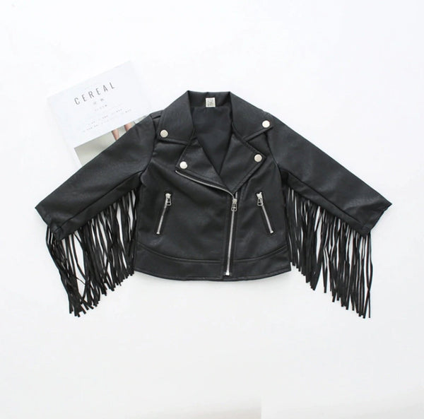 'ALL THAT SASS' TASSEL PU GIRLS JACKET