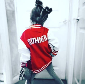 RED PERSONALISED VARSITY JACKET