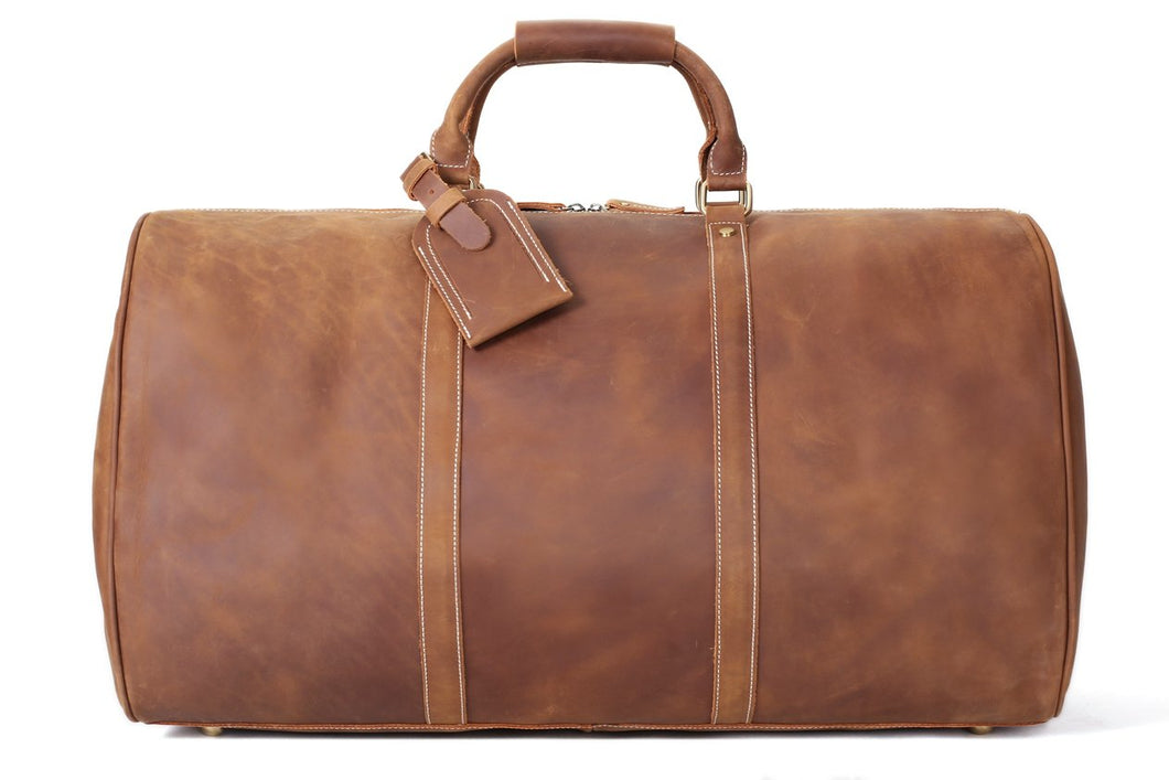 Handmade Large Vintage Full Grain Leather Duffle Bag
