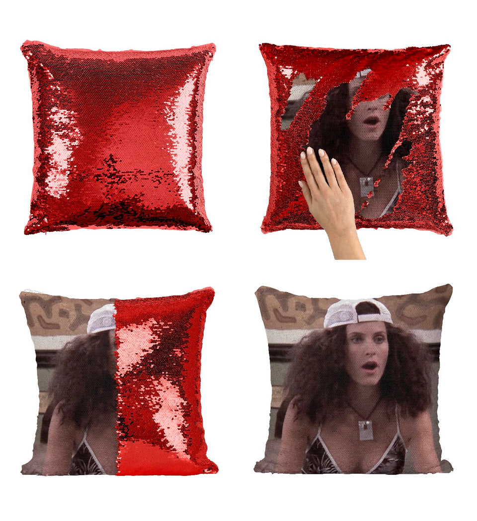 Monica Friends Geller CF6 Pillow Cover Sequin Mermaid Flip Reversible Scales Meme Emoji Actor Girls Boys Couch Office Sofa