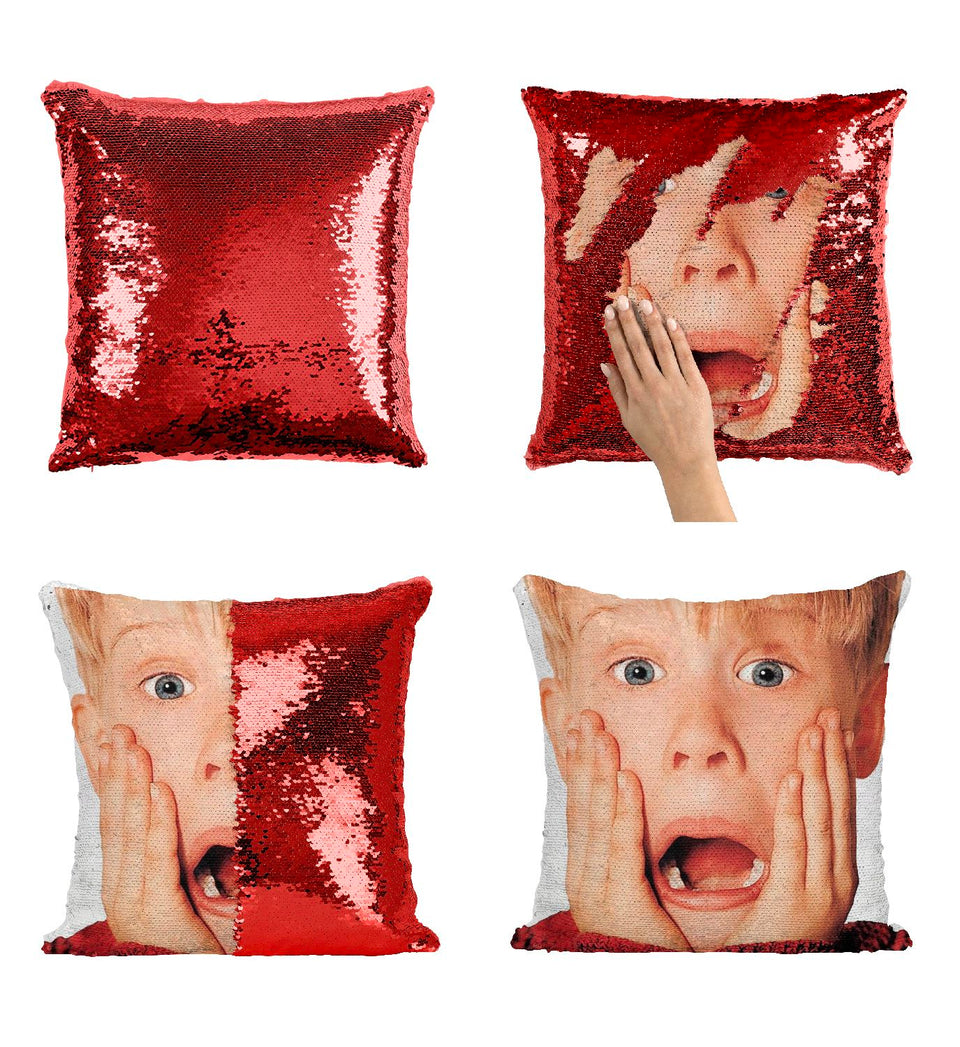 Scared Macaulay Culkin Alone Home Pillow Cover Sequin Mermaid Flip Reversible Scales Meme Emoji Actor Girls Boys Couch Office Sofa