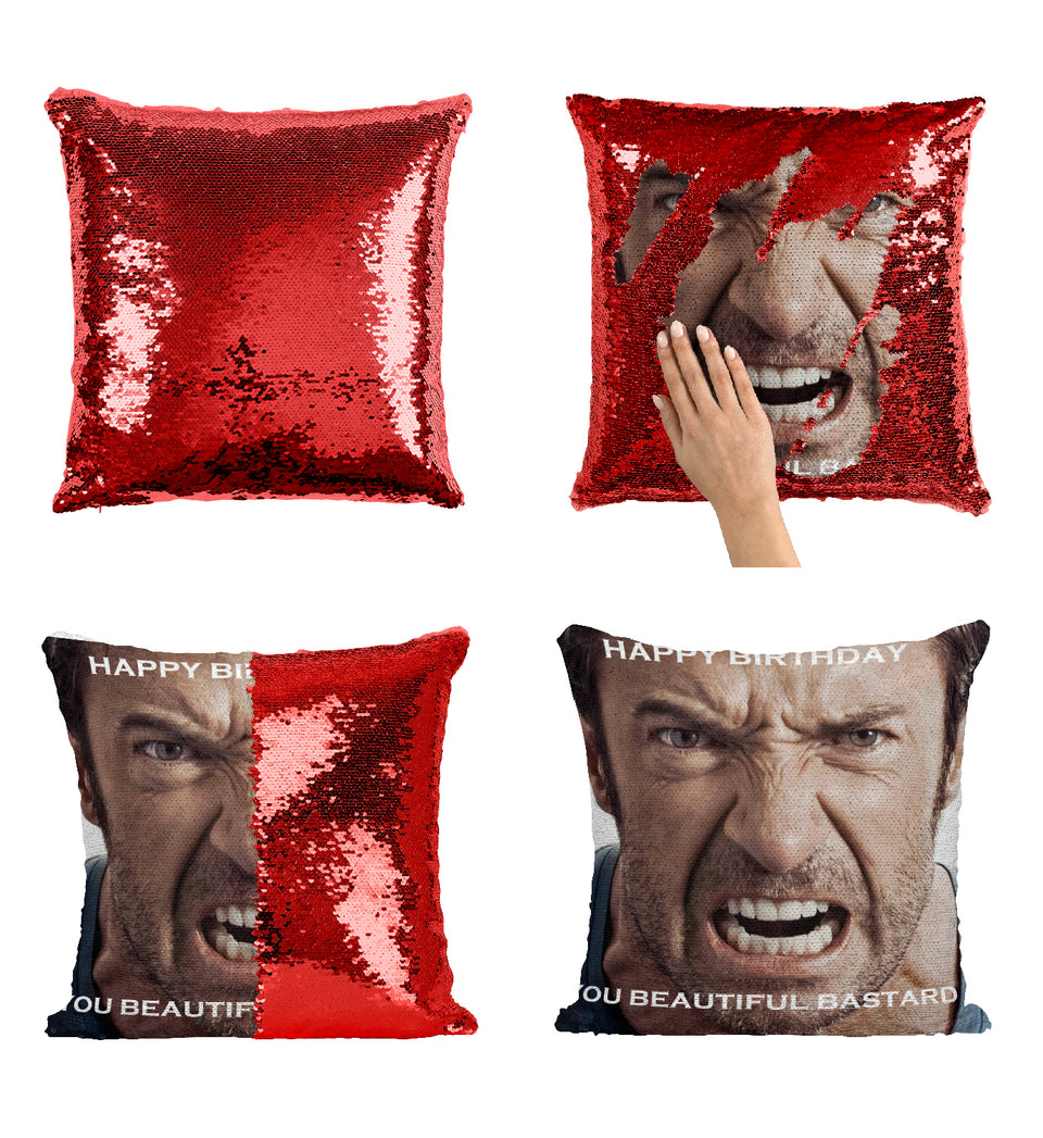 Hugh Jackman Angry Happy Bithday_MA0150 Sequin Pillow