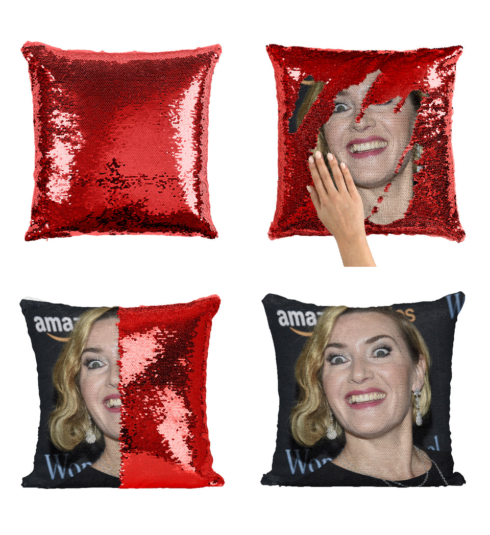 Kate Winslet Funny Creepy Face_MA0202 Sequin Pillow