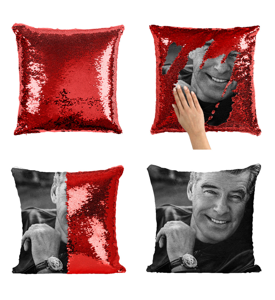Pierce Brosnan Agent 007 Bond Actor_MA0285 Sequin Pillow