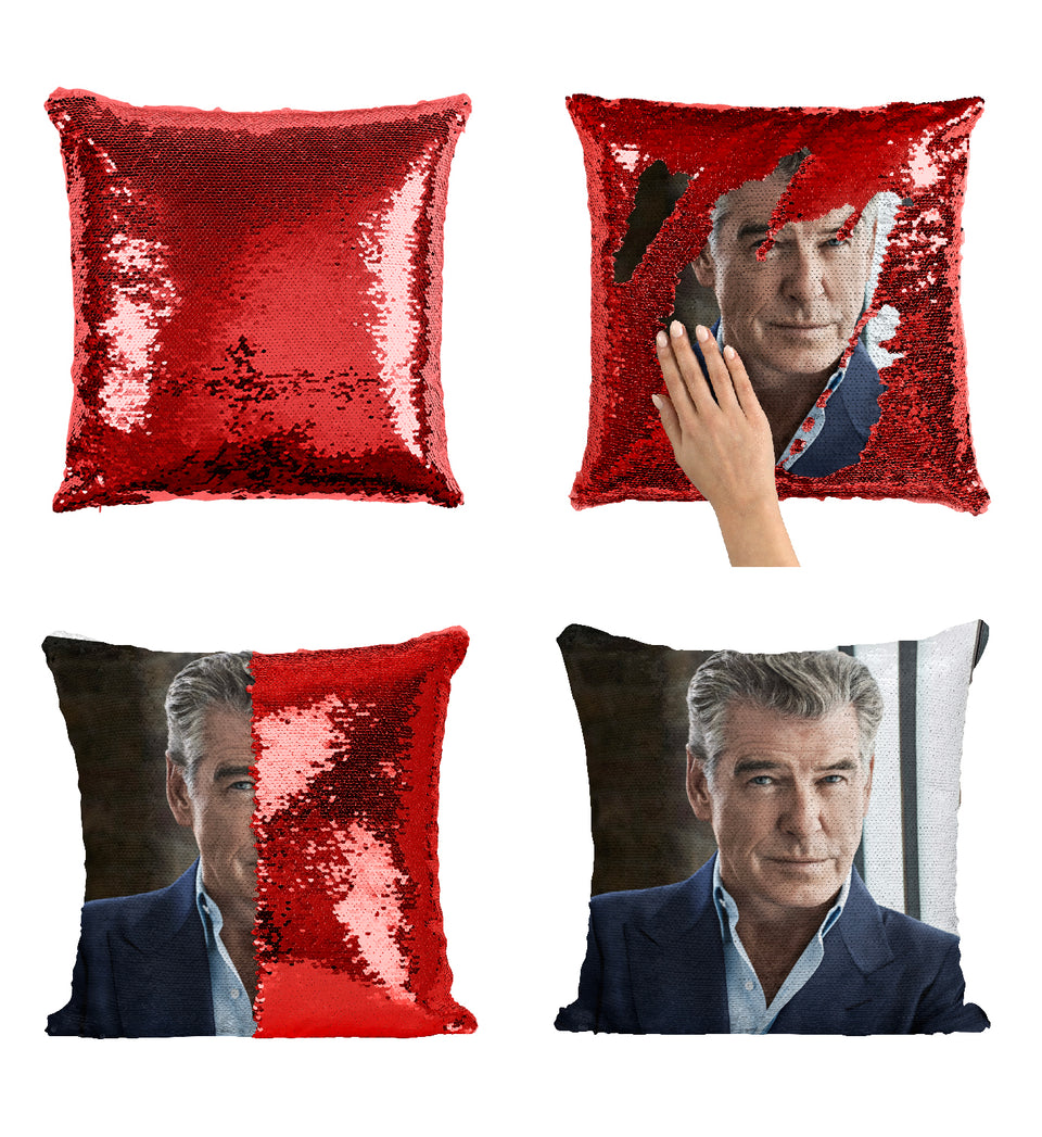Pierce Brosnan James Bond Actor_MA0286 Sequin Pillow