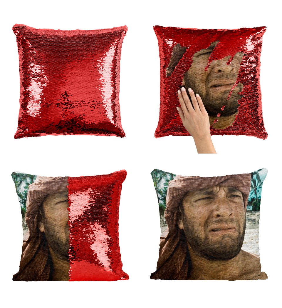 Tom Hank Cast Way Movie Scene_MA0354 Sequin Pillow