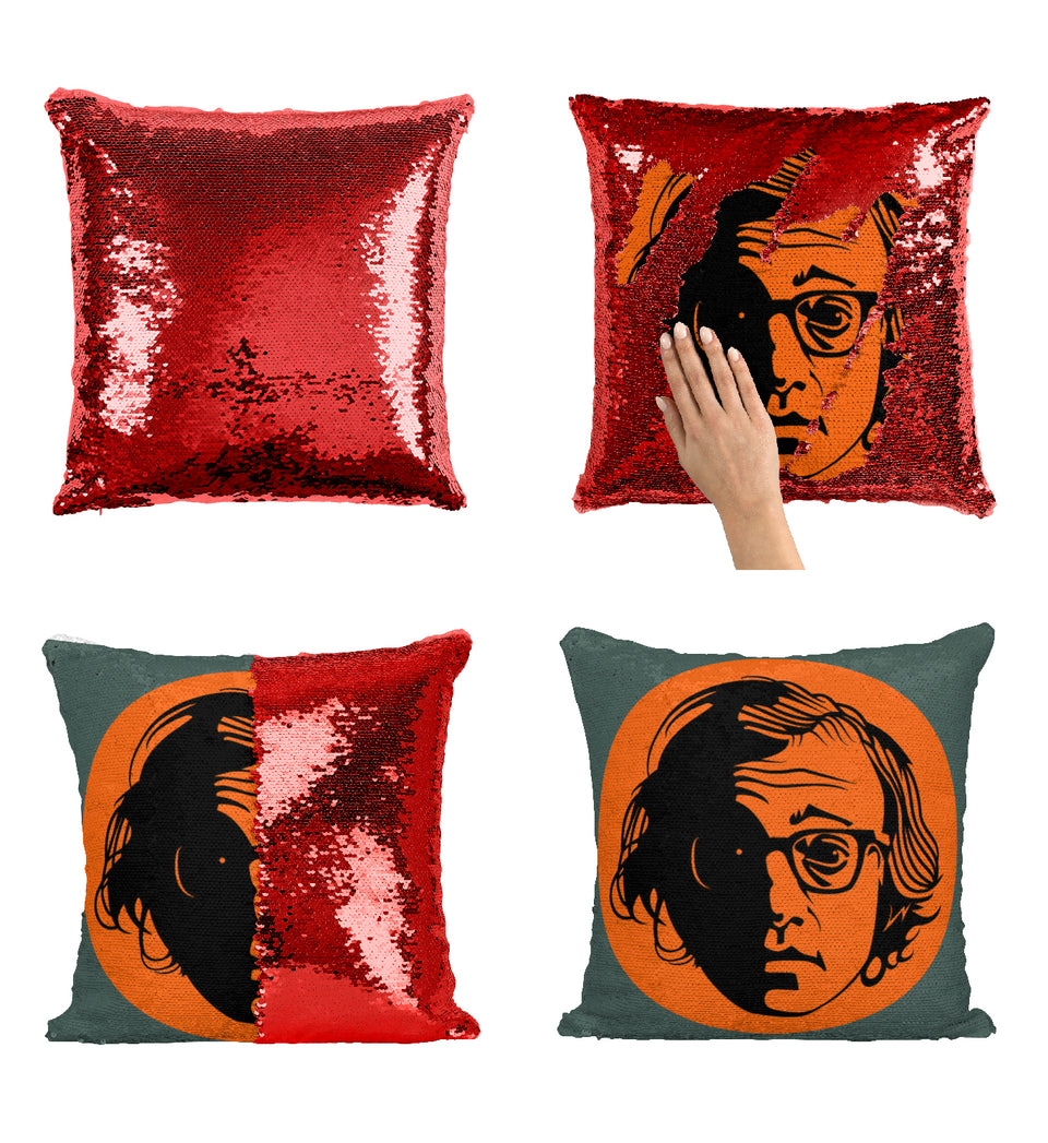 Woody Alen Hollywood Actor Illustration_MA0373 Sequin Pillow
