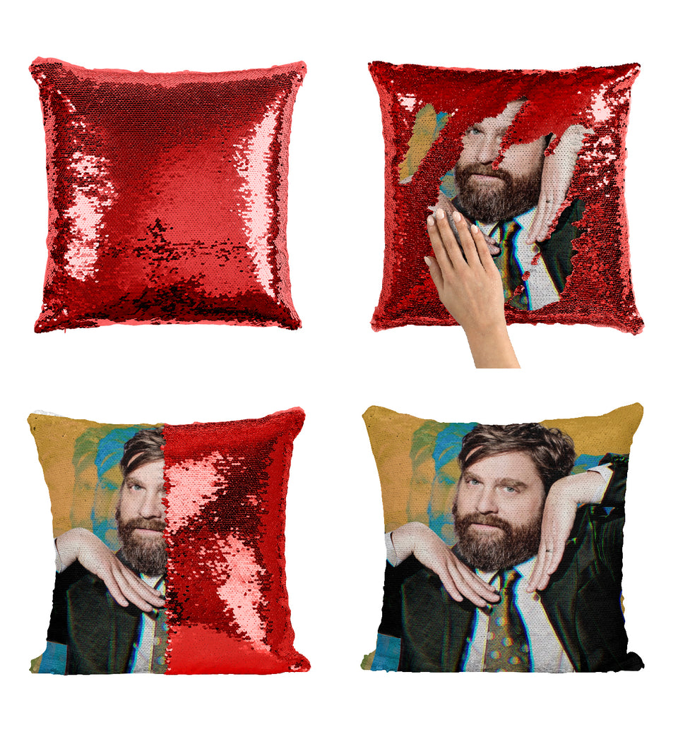 Zach Galifianakis Actor Cute_MA0380 Sequin Pillow