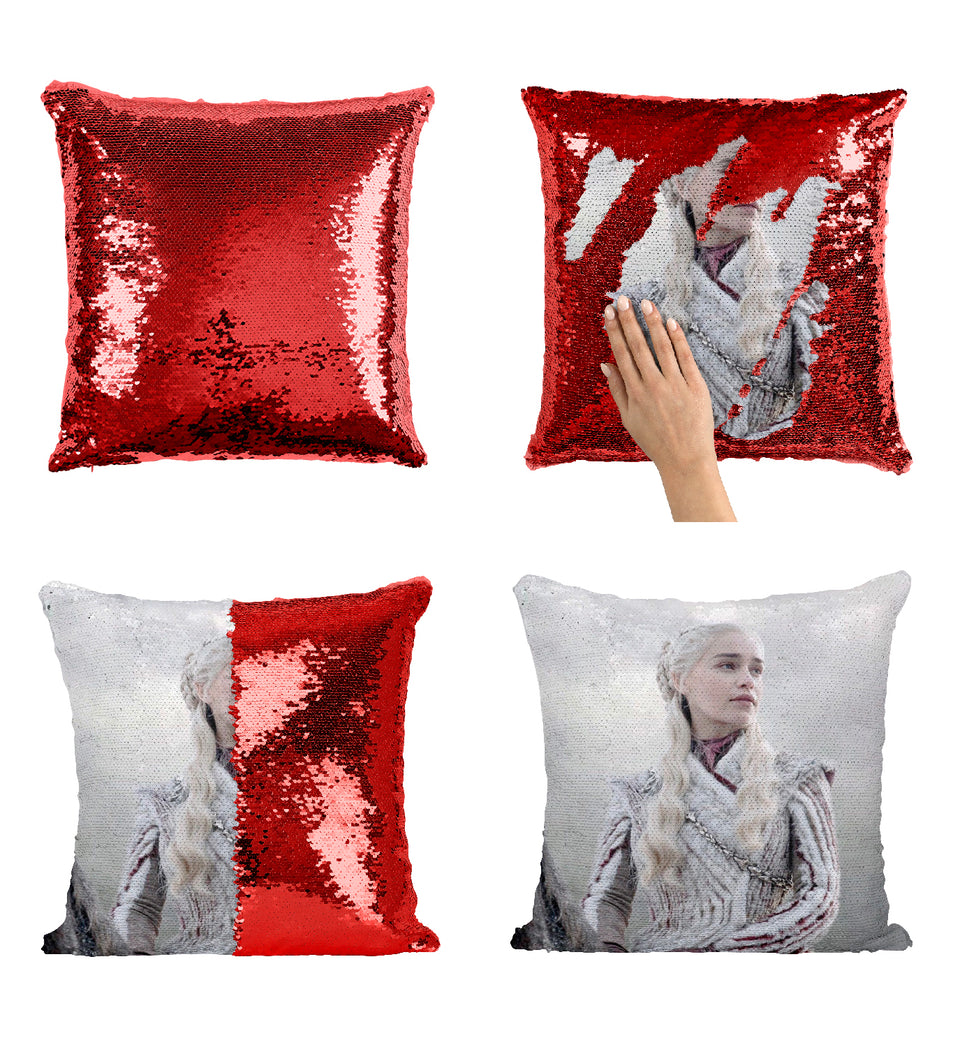 Mother Of Dragons Daenerys Targaryen GOT Character In White_MA0619 Game Of Thrones Sequin Pillow