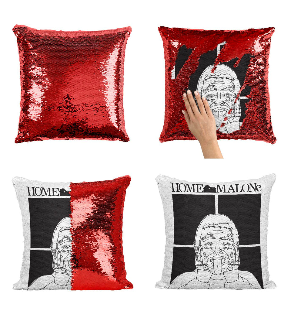 Home Malone Post Rapper Artist Malone Sequin Pillow HM1  Pillow Cover Sequin Mermaid Flip Reversible Scales Meme Emoji Actor Girls Boys Couch Office Sofa