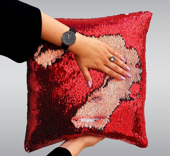 Nicolas Cage Face Sequin Pillow | Magic Pillow