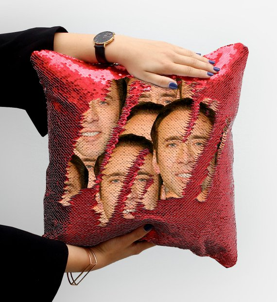 Nicolas Cage Face Sequin Pillow P004 | Magic Pillow