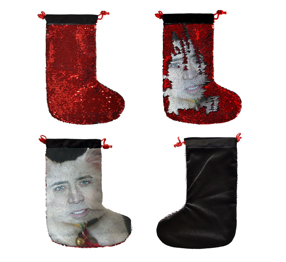 Nicolas Cage White Cute Cat _SS0054 Gift Christmas Stocking