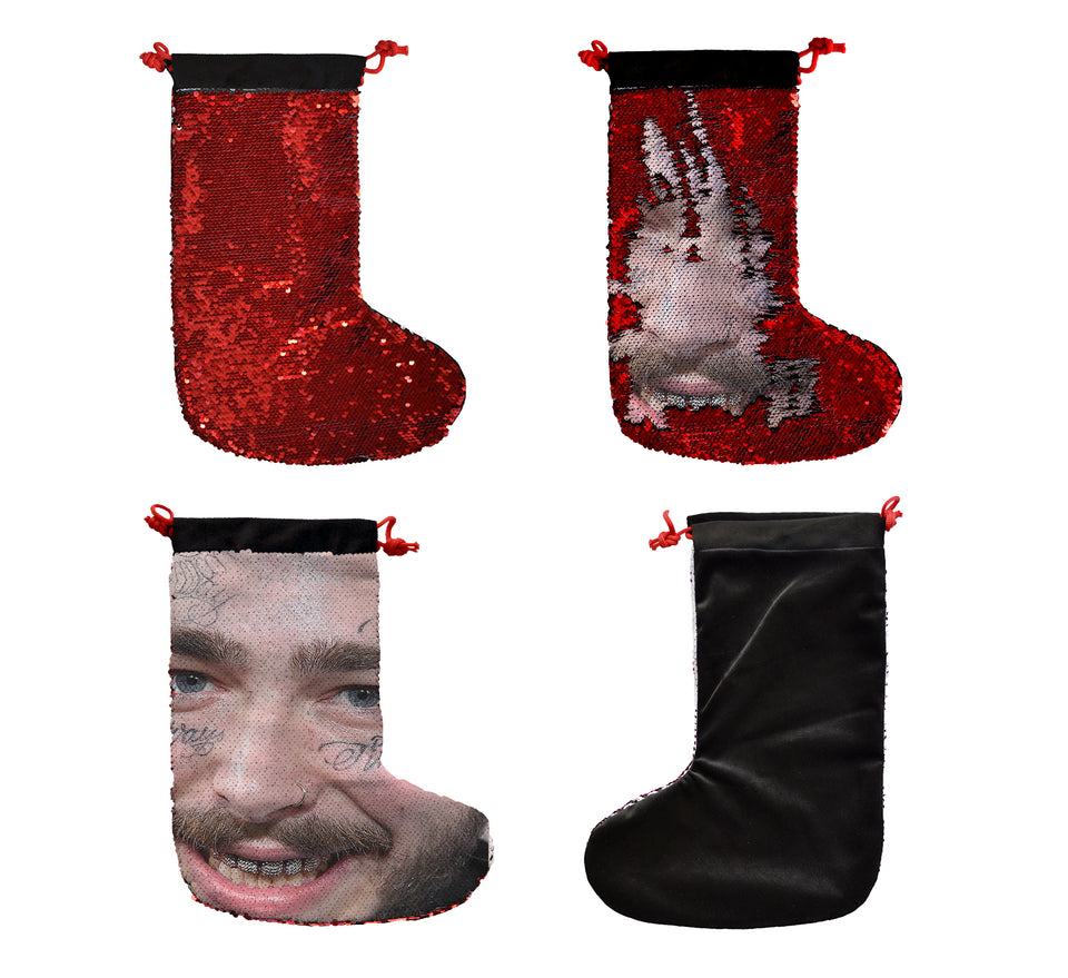 Post Malone Smile Face Upclose Tattoo_SH02 Christmas Gift Stocking