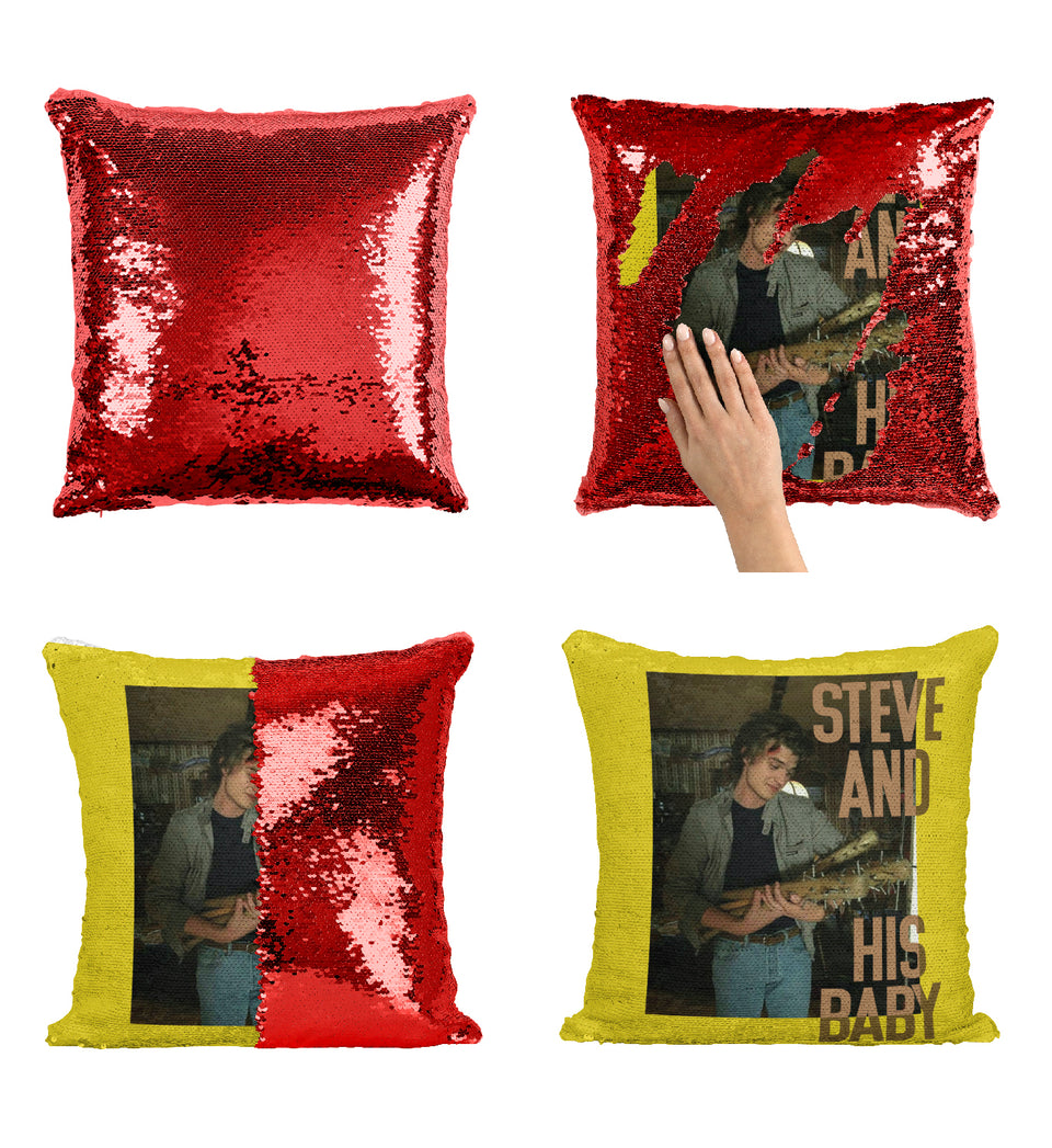 Steve And His Baby Basball Bat Joe Keery_MA0660 Stranger Things Sequin Pillow