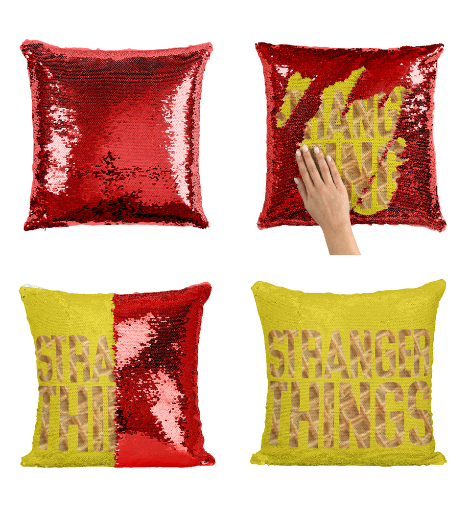 Stranger TV Things Series Logo Waffle Pattern_MA0664 Stranger Things Sequin Pillow