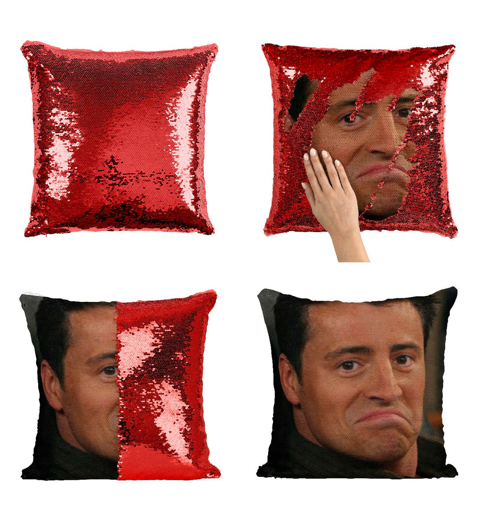 Joey Friends Tribbiani CF2 Pillow Cover Sequin Mermaid Flip Reversible Scales Meme Emoji Actor Girls Boys Couch Office Sofa