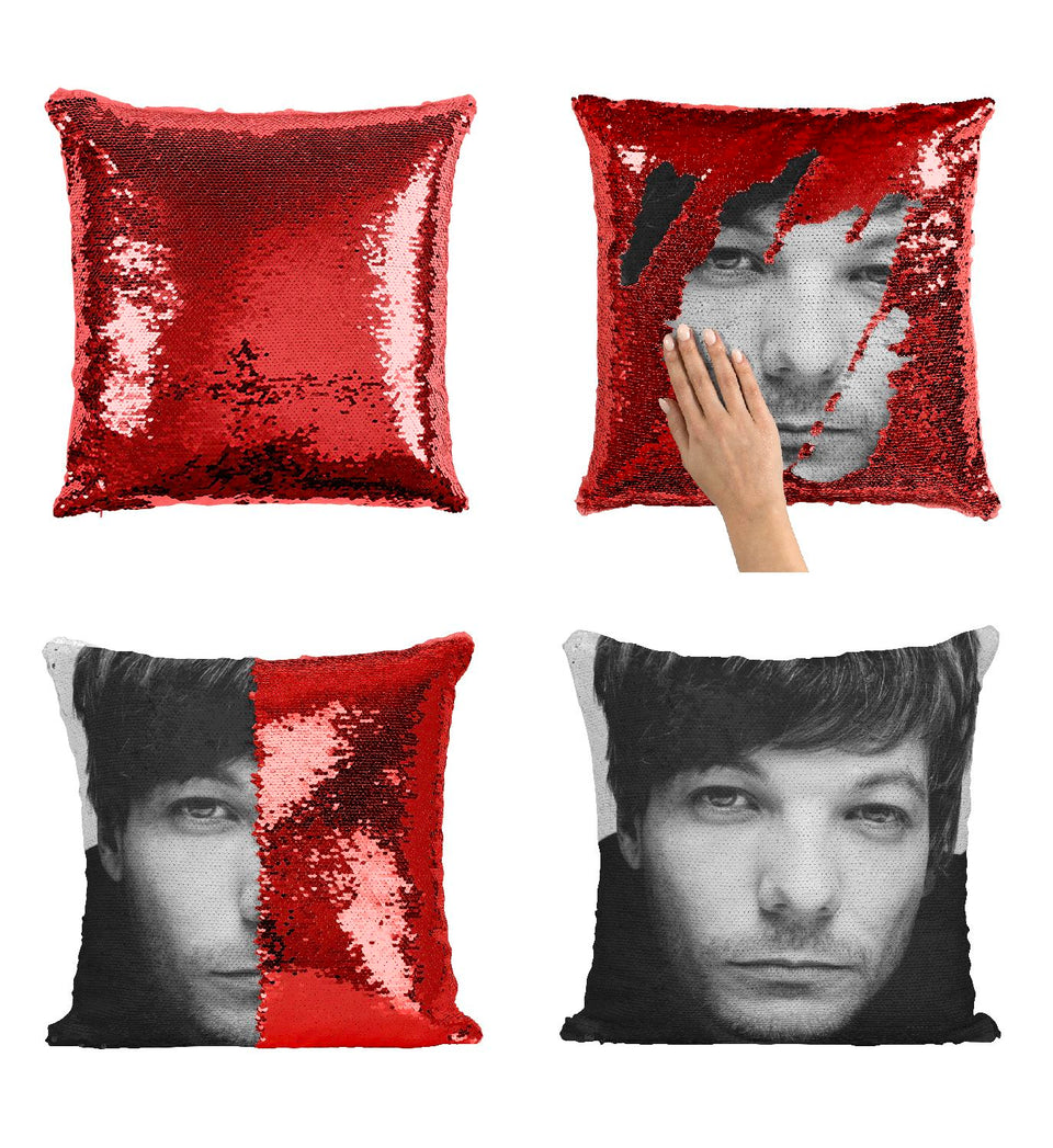Louis Singer Tomlinson OD3 Pillow Cover Sequin Mermaid Flip Reversible Scales Meme Emoji Actor Girls Boys Couch Office Sofa