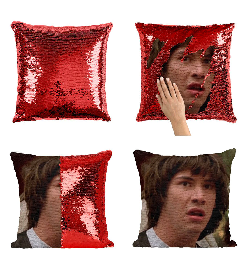Young Keanu Reeves Disgusted Shocked_P422 Pillow