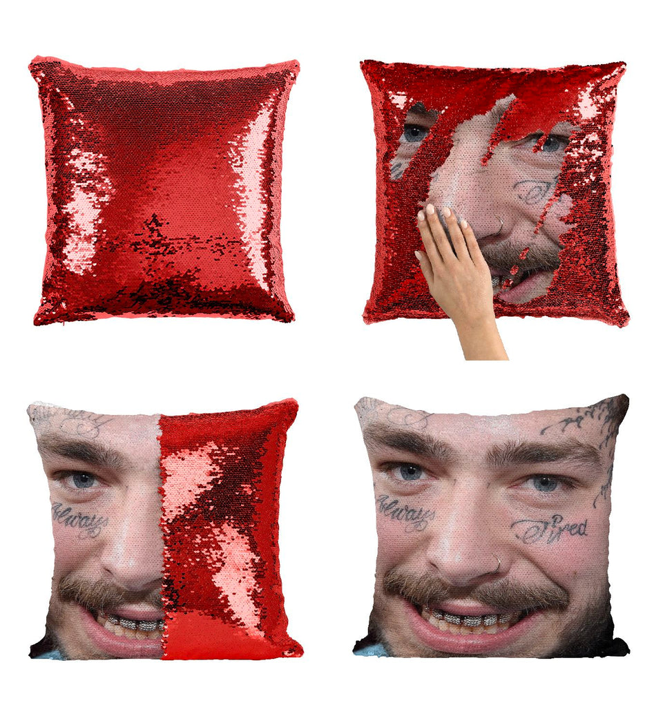 Rapper Malone Tattoos Smile Post Artist_MA0849 Pillow Cover Sequin Mermaid Flip Reversible Scales Meme Emoji Actor Girls Boys Couch Office Sofa
