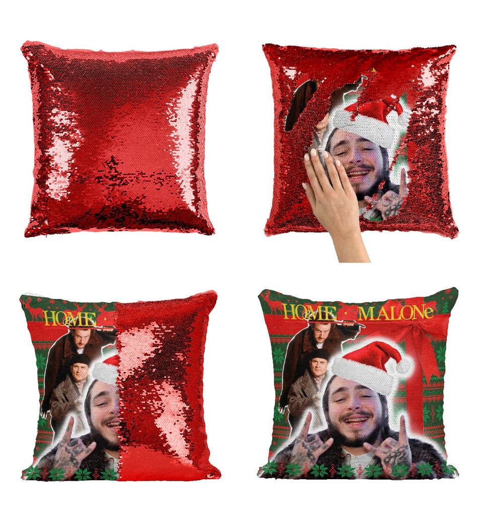 Home Malone Post Rapper Artist Malone Sequin Pillow HM2 Pillow Cover Sequin Mermaid Flip Reversible Scales Meme Emoji Actor Girls Boys Couch Office Sofa