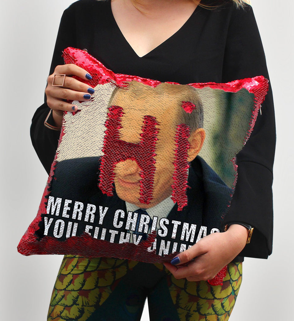 Christmas Putin Sequin Pillow, C21