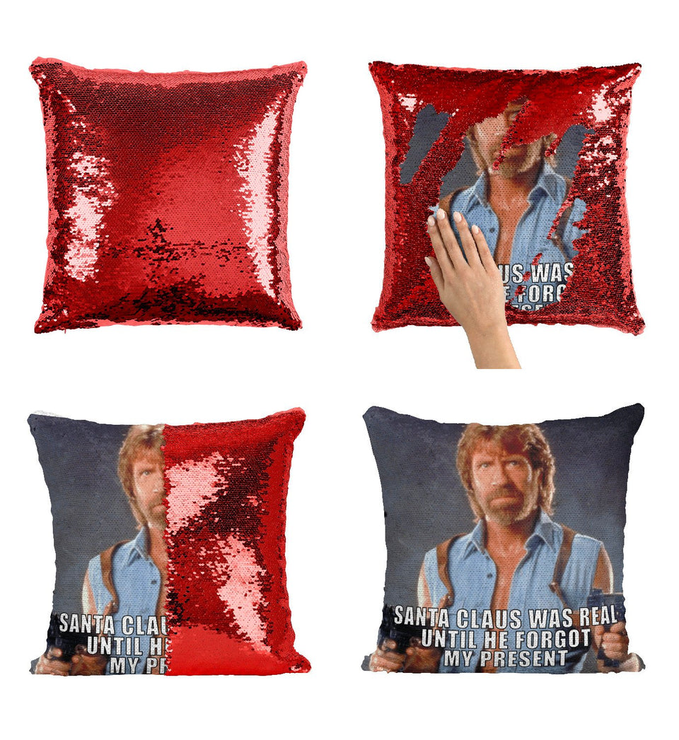 Christmas Chuck Norris Sequin Pillow, C28
