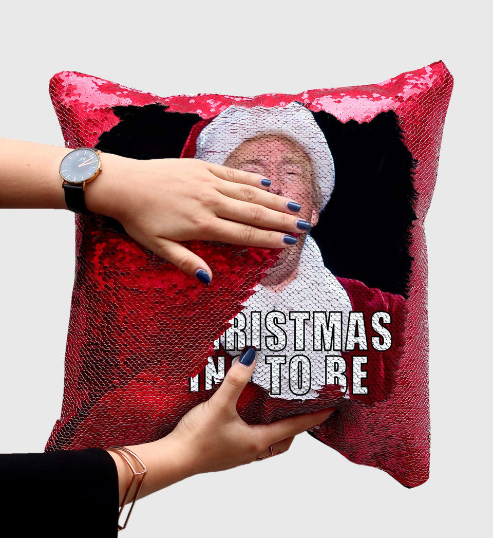 Santa Trump Sequin Pillow, C01