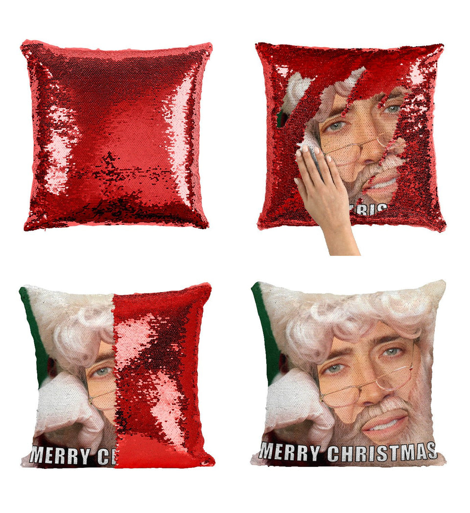 Santa Nicolas Cage Sequin Pillow, C06