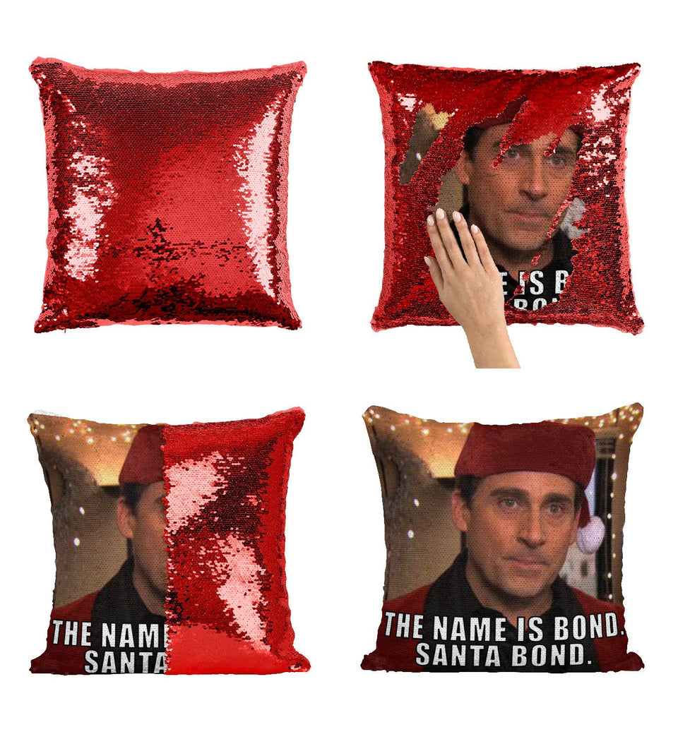 The Office Steve Carell Santa Sequin Pillow, C31