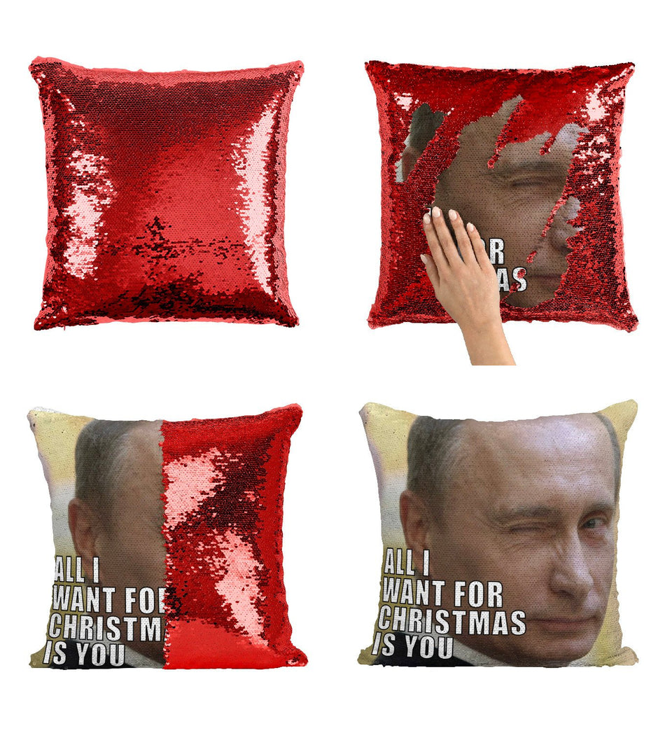 Christmas Putin Sequin Pillow, C20