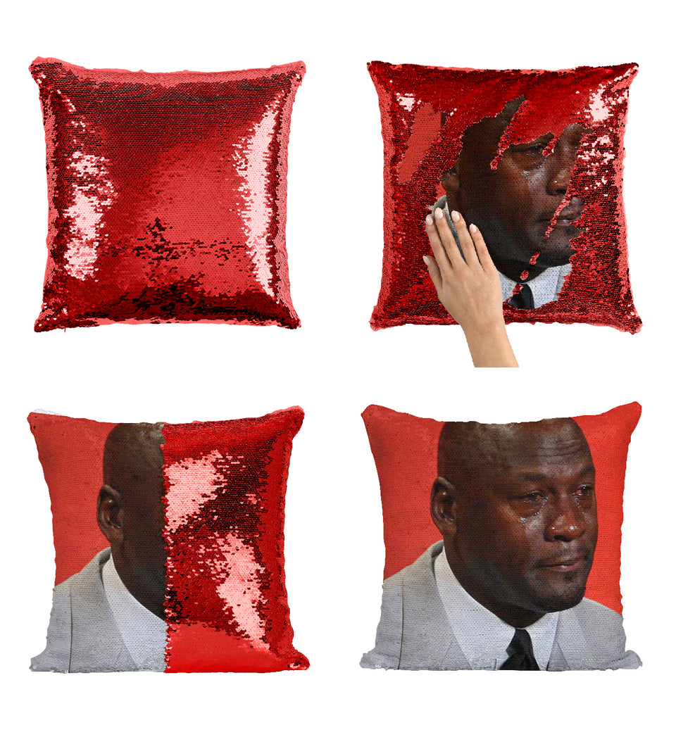 Crying Face Michael Jordan_MA0804 Sequin Pillow