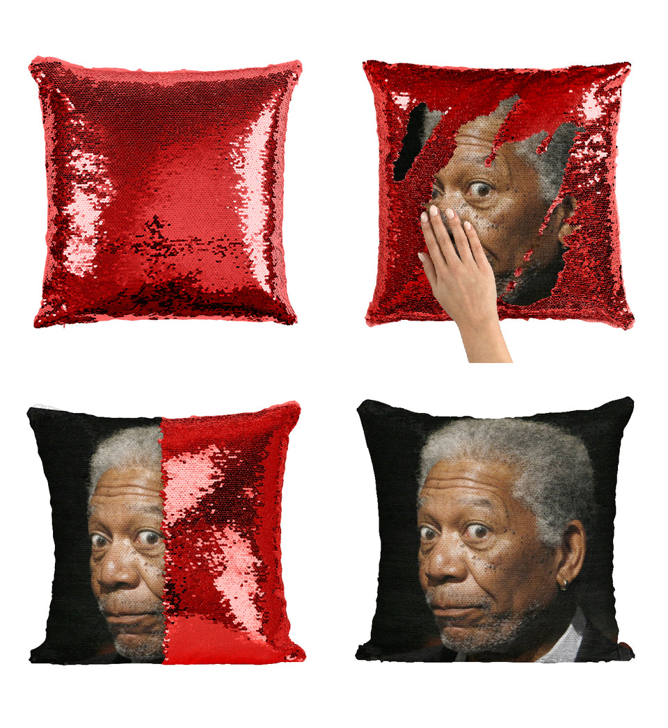 Morgan Freeman Ageless Surprised Face_MA0835 Sequin Pillow