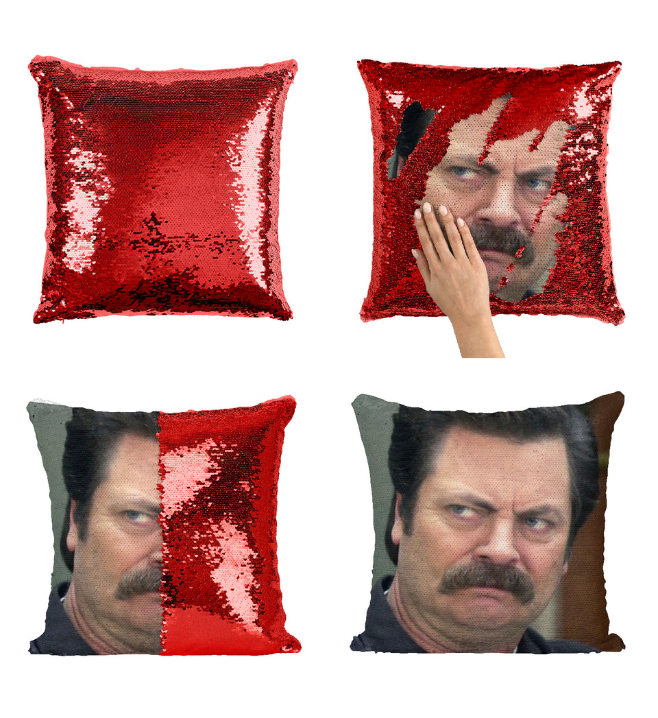 Ron Swanson Disappointed Look Why_MA0855 Sequin Pillow