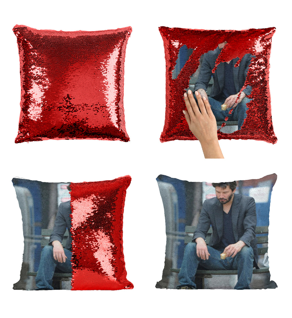 Sad Keanu Reeves_MA0857 Sequin Pillow