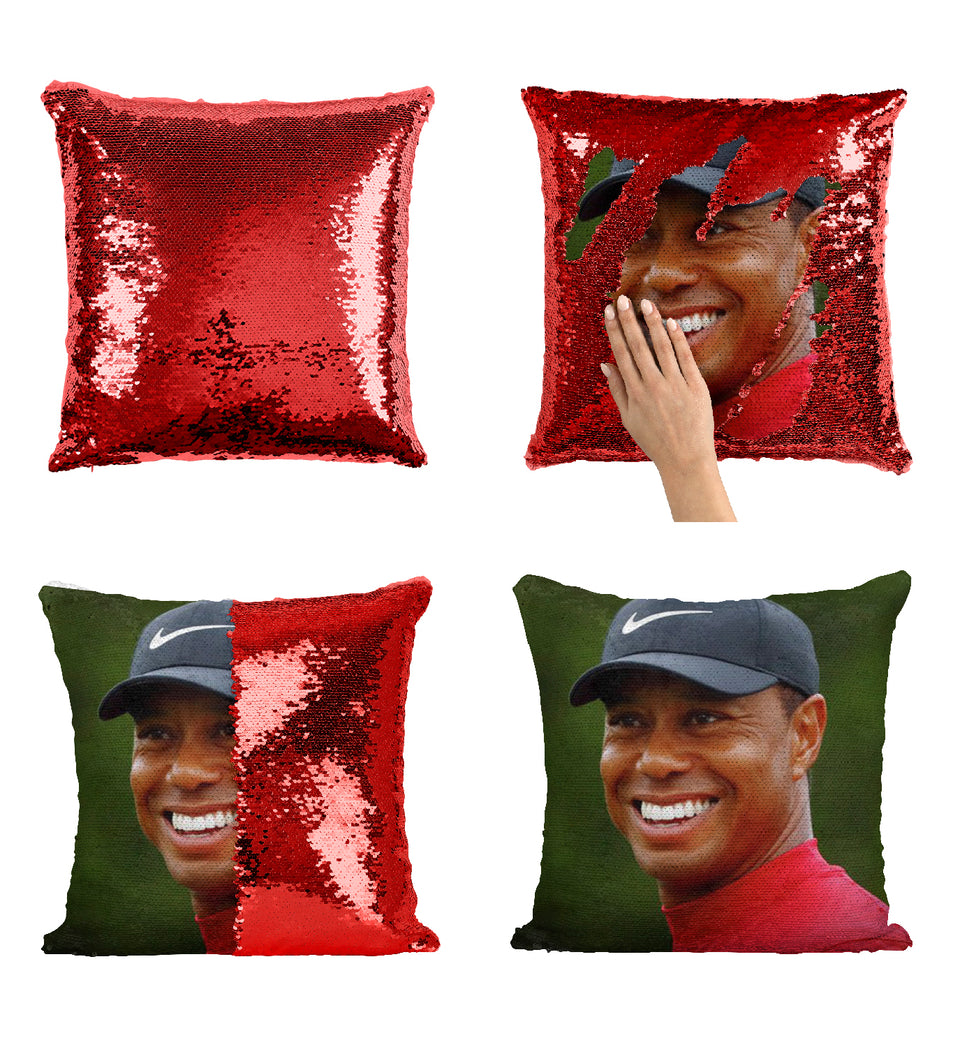 Tiger Golf Woods Smile With Cap_MA0874 Sequin Pillow