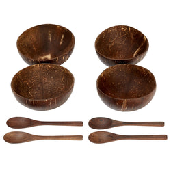 Coconut Bowl and Spoon, Set of 4
