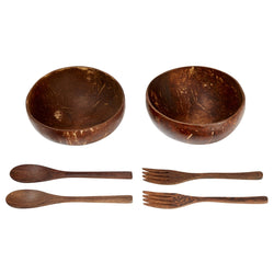Coconut Bowl, Spoon and Fork, Set of 2