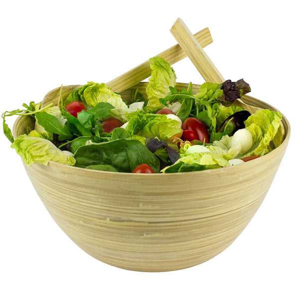 Bamboo Salad Bowl With Serving Utensils (D30cm x H12cm)